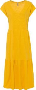 Żółta sukienka bonprix z krótkim rękawem
