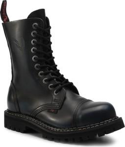 Czarne buty zimowe NAGABA sznurowane w militarnym stylu ze skóry