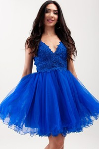 Niebieska sukienka Butik Ecru mini na ramiączkach