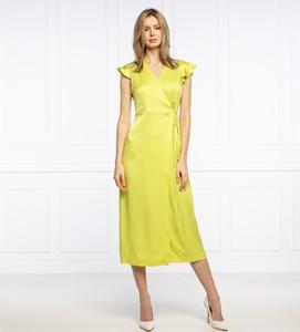 Żółta sukienka Twinset z krótkim rękawem maxi