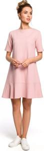 Sukienka MOE mini z dzianiny z krótkim rękawem