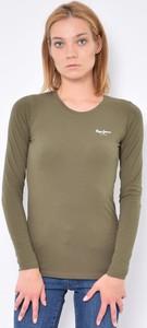 Zielona bluzka Pepe Jeans w stylu casual z długim rękawem z bawełny