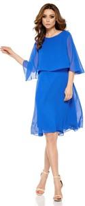 Sukienka Coco Style z okrągłym dekoltem z długim rękawem z szyfonu