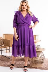 Sukienka KARKO midi dla puszystych z długim rękawem