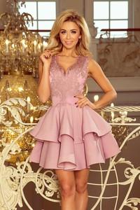 Różowa sukienka NUMOCO z krótkim rękawem z dekoltem w kształcie litery v rozkloszowana