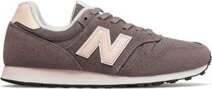 Brązowe buty sportowe New Balance w street stylu na koturnie z zamszu