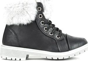Czarne buty dziecięce zimowe Royalfashion.pl sznurowane