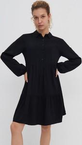 Czarna sukienka House mini szmizjerka w stylu casual