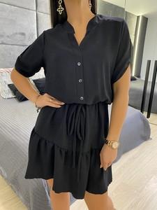 Czarna sukienka ModnaKiecka.pl mini z kołnierzykiem z długim rękawem