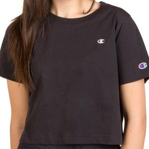 Czarna bluzka Champion z okrągłym dekoltem z krótkim rękawem