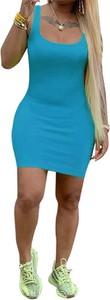 Niebieska sukienka Arilook w stylu casual na ramiączkach z dresówki