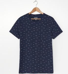 Granatowy t-shirt House z nadrukiem z bawełny z krótkim rękawem