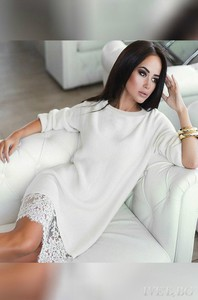 Biała sukienka dreamy z długim rękawem mini z lycry