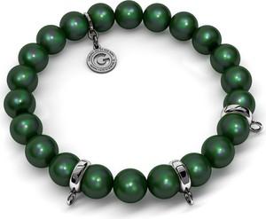 GIORRE ELASTYCZNA SREBRNA BRANSOLETKA PERŁY SWAROVSKI 925 : Kolor pokrycia srebra - Pokrycie Czarnym Rodem, Perła - SWAROVSKI SCARABAEUS GREEN