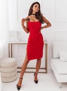 Czerwona sukienka Pakuten na ramiączkach mini