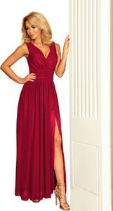 Czerwona sukienka NUMOCO z dekoltem w kształcie litery v maxi z szyfonu