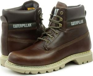 Brązowe buty zimowe Caterpillar sznurowane