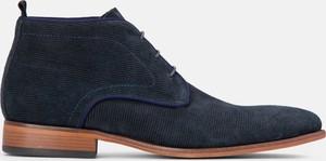 Granatowe buty zimowe Kazar z zamszu