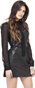 Granatowa sukienka Guess z okrągłym dekoltem bodycon mini