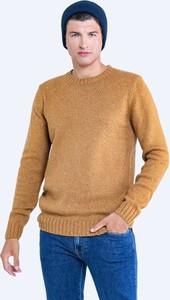 Brązowy sweter Big Star z okrągłym dekoltem w stylu casual z wełny