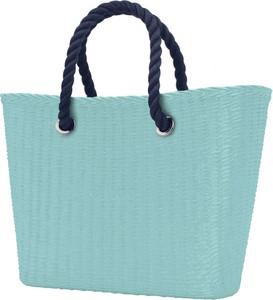 Turkusowa torebka O Bag w wakacyjnym stylu do ręki duża