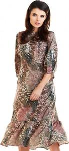 Sukienka Awama midi z długim rękawem