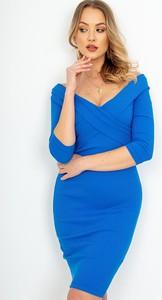 Niebieska sukienka ZOiO.pl midi dopasowana hiszpanka
