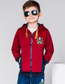 Ombre clothing bluza dziecięca rozpinana z kapturem kb013 - bordowa