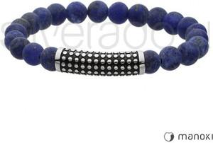 Silverado granatowa bransoletka z matowych lapisów lazuli z rurką w kropki 77-ba425j