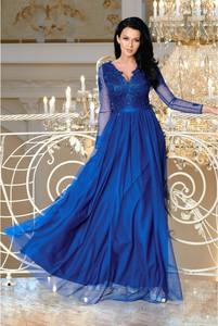 Sukienka Ptakmoda.com z dekoltem w kształcie litery v z długim rękawem z tkaniny