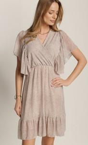 Sukienka Renee z krótkim rękawem mini z dekoltem w kształcie litery v