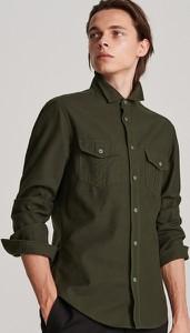 Zielona koszula Reserved z długim rękawem z bawełny z włoskim kołnierzykiem