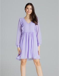 Niebieska sukienka LENITIF z długim rękawem