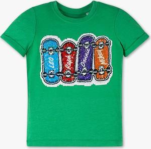 Zielona koszulka dziecięca C&A z bawełny z krótkim rękawem