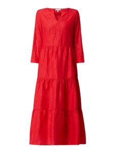 Czerwona sukienka Mint & Mia z długim rękawem z lnu