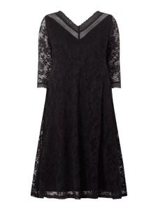 Czarna sukienka Sheego z długim rękawem mini