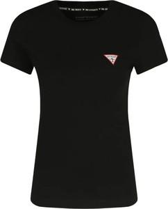 Czarny t-shirt Guess z krótkim rękawem z okrągłym dekoltem