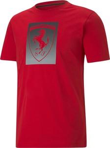 Czerwony t-shirt Puma z nadrukiem z krótkim rękawem