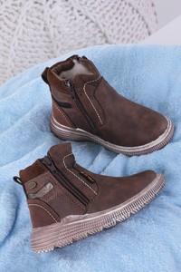 Brązowe buty dziecięce zimowe Casu