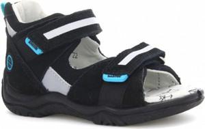 Czarne buty dziecięce letnie Wojas ze skóry na rzepy