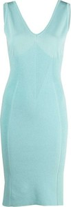 Turkusowa sukienka Alberta Ferretti bez rękawów z dekoltem w kształcie litery v mini