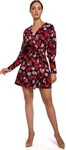 Sukienka MOE mini z długim rękawem z dekoltem w kształcie litery v