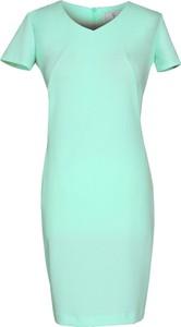 Miętowa sukienka Fokus w stylu casual z dekoltem w kształcie litery v midi