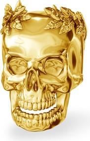 GIORRE Srebrny koralik zawieszka charms CZASZKA Cezara srebro 925 : Kolor pokrycia srebra - Pokrycie Żółtym 24K Złotem