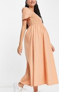 Pieces Maternity – Marszczona koktajlowa sukienka maxi w kolorze piaskowym, dla kobiet w ciąży-Pomarańczowy