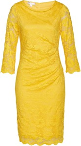 Żółta sukienka bonprix z długim rękawem