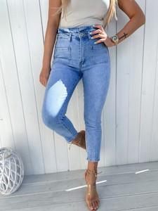 Niebieskie jeansy Ricca Fashion w stylu casual z jeansu