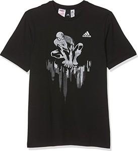 Czarny t-shirt Adidas z krótkim rękawem w młodzieżowym stylu