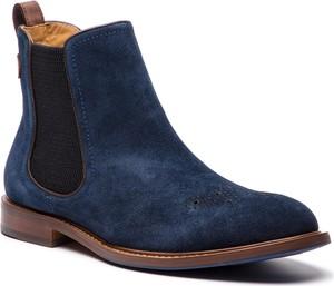 Niebieskie buty zimowe Kazar z zamszu