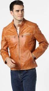 Pomarańczowa kurtka Milestone ze skóry krótka
